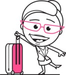 Black and White Office Woman Cartoon Vector Character AKA Drew - Travel 1