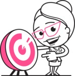 Black and White Office Woman Cartoon Vector Character AKA Drew - Target