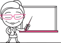 Black and White Office Woman Cartoon Vector Character AKA Drew - Presentation 3