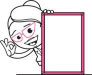 Black and White Office Woman Cartoon Vector Character AKA Drew - Presentation 4