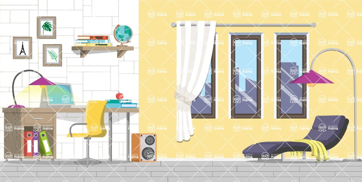 Make your own Office - creation kit - vector graphics, elements and parts - backgrounds, different interior styles, accessories, furniture, colors, plants, decoration, tech equipment  - Interior 11