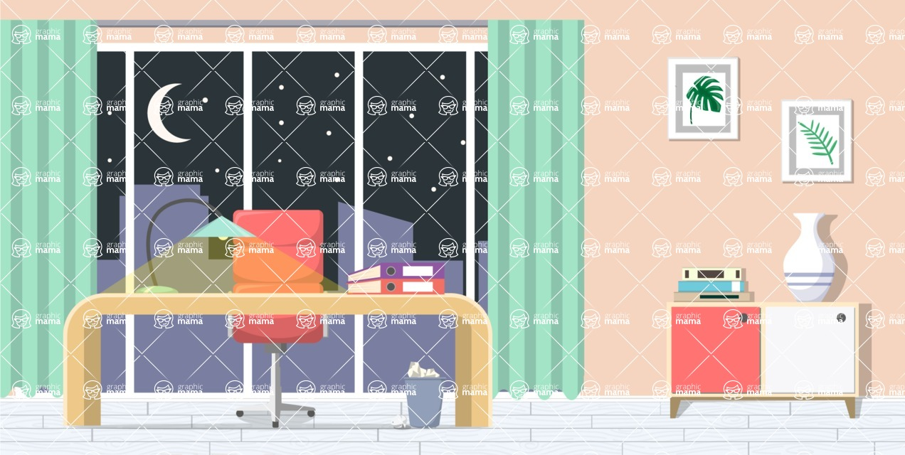 Make your own Office - creation kit - vector graphics, elements and parts - backgrounds, different interior styles, accessories, furniture, colors, plants, decoration, tech equipment  - Interior 14