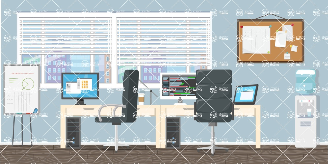 Make your own Office - creation kit - vector graphics, elements and parts - backgrounds, different interior styles, accessories, furniture, colors, plants, decoration, tech equipment  - Interior 15