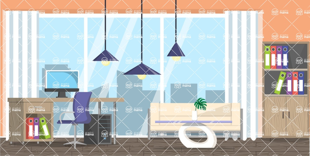 Make your own Office - creation kit - vector graphics, elements and parts - backgrounds, different interior styles, accessories, furniture, colors, plants, decoration, tech equipment  - Interior 18