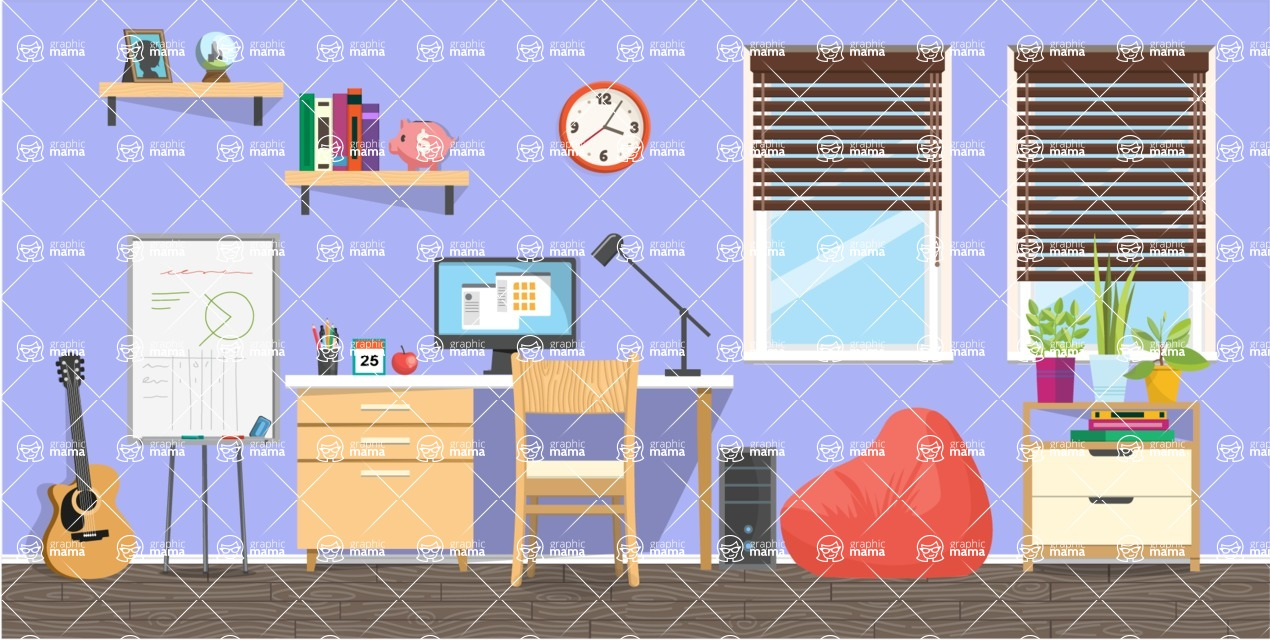Make your own Office - creation kit - vector graphics, elements and parts - backgrounds, different interior styles, accessories, furniture, colors, plants, decoration, tech equipment  - Interior 19
