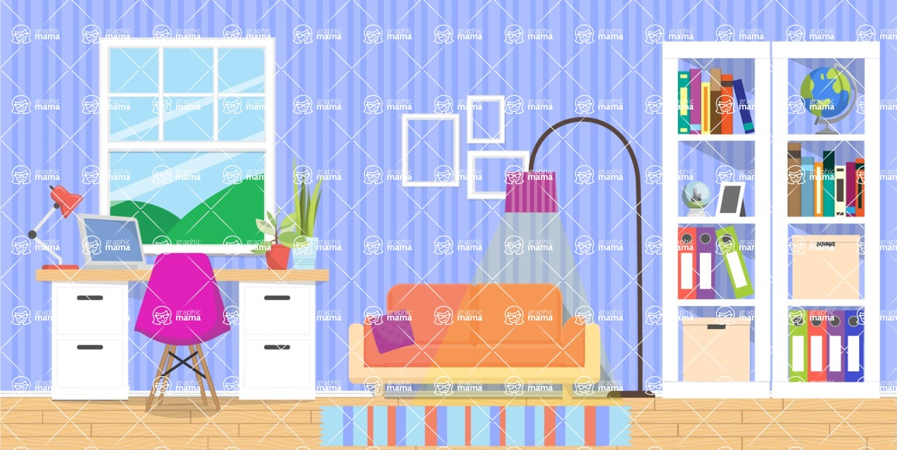 Make your own Office - creation kit - vector graphics, elements and parts - backgrounds, different interior styles, accessories, furniture, colors, plants, decoration, tech equipment  - Interior 2