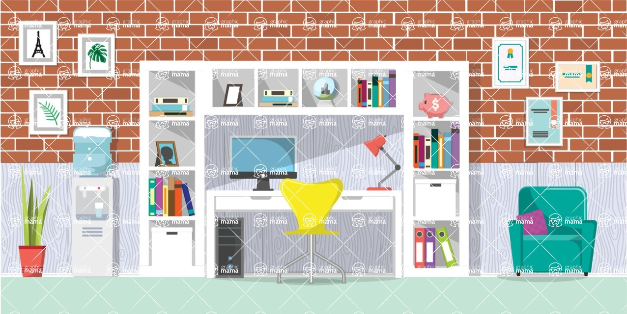 Make your own Office - creation kit - vector graphics, elements and parts - backgrounds, different interior styles, accessories, furniture, colors, plants, decoration, tech equipment  - Interior 20