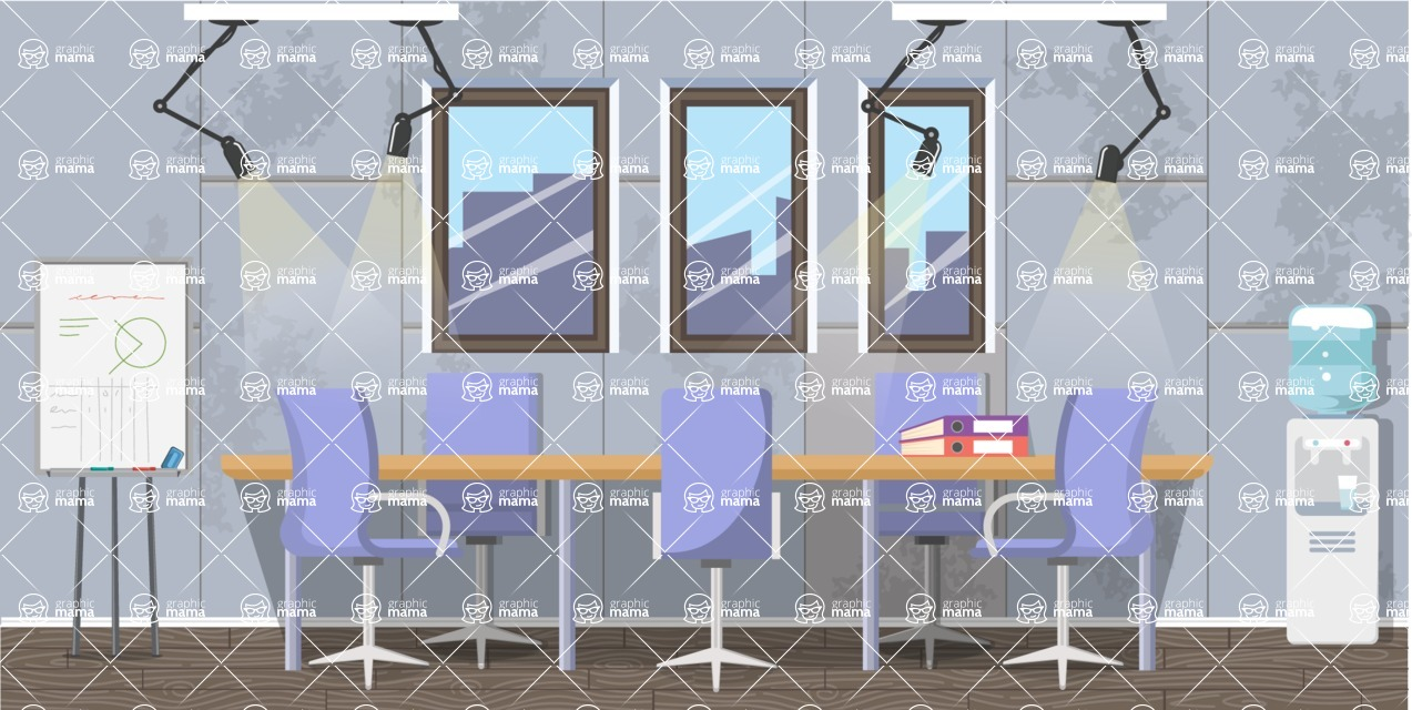 Make your own Office - creation kit - vector graphics, elements and parts - backgrounds, different interior styles, accessories, furniture, colors, plants, decoration, tech equipment  - Interior 21