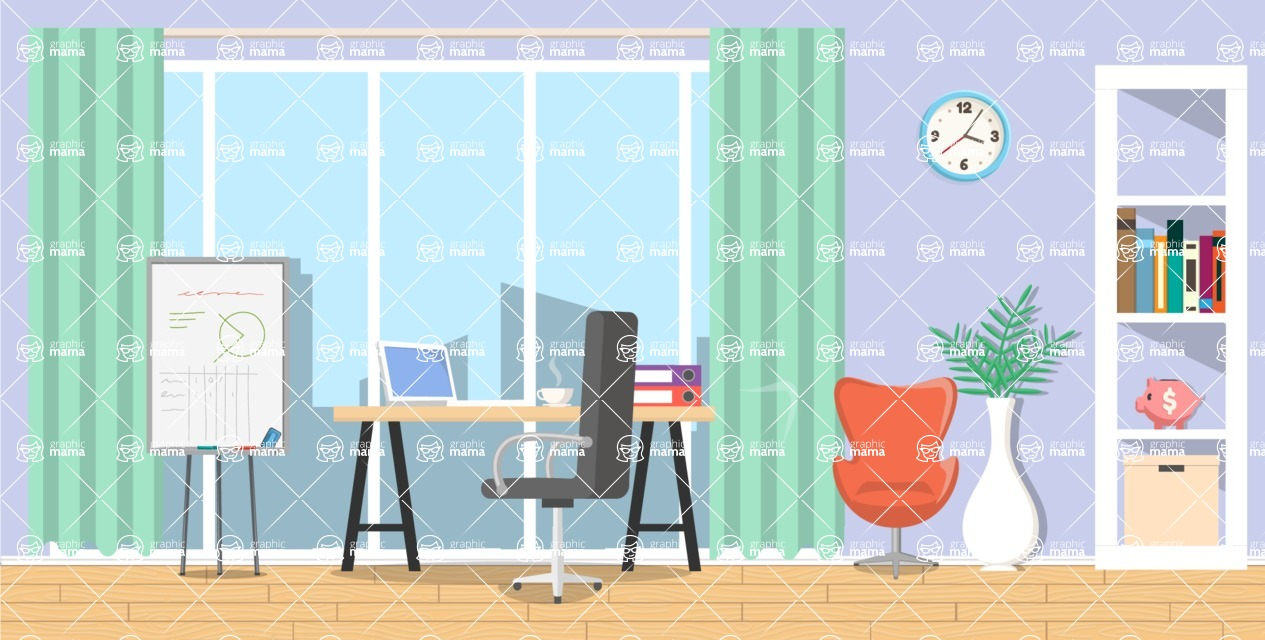Make your own Office - creation kit - vector graphics, elements and parts - backgrounds, different interior styles, accessories, furniture, colors, plants, decoration, tech equipment  - Interior 22