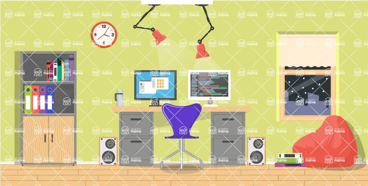 Make your own Office - creation kit - vector graphics, elements and parts - backgrounds, different interior styles, accessories, furniture, colors, plants, decoration, tech equipment  - Interior 25