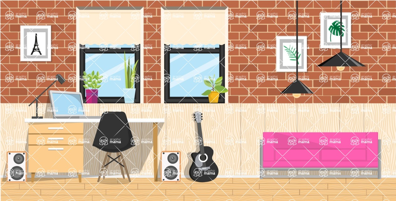 Make your own Office - creation kit - vector graphics, elements and parts - backgrounds, different interior styles, accessories, furniture, colors, plants, decoration, tech equipment  - Interior 3