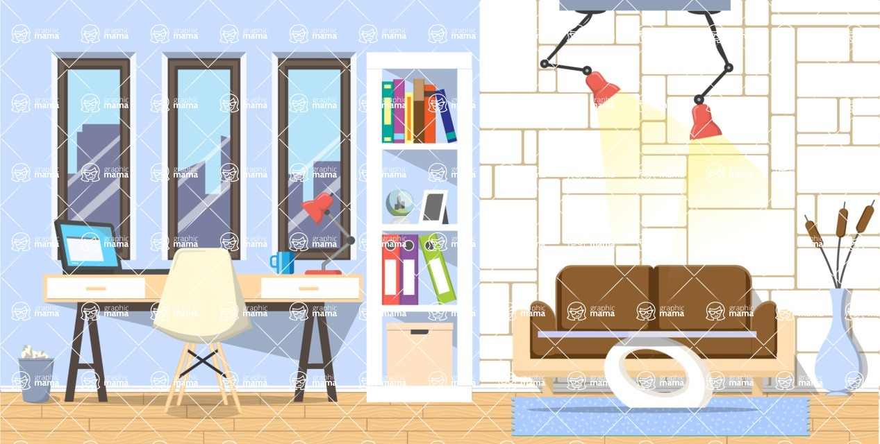 Make your own Office - creation kit - vector graphics, elements and parts - backgrounds, different interior styles, accessories, furniture, colors, plants, decoration, tech equipment  - Interior 4