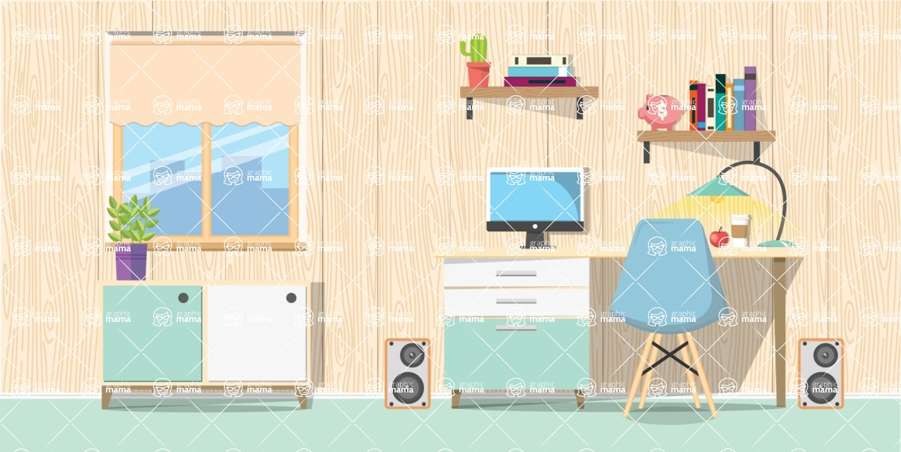 Make your own Office - creation kit - vector graphics, elements and parts - backgrounds, different interior styles, accessories, furniture, colors, plants, decoration, tech equipment  - Interior 5