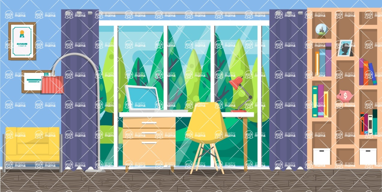 Make your own Office - creation kit - vector graphics, elements and parts - backgrounds, different interior styles, accessories, furniture, colors, plants, decoration, tech equipment  - Interior 6