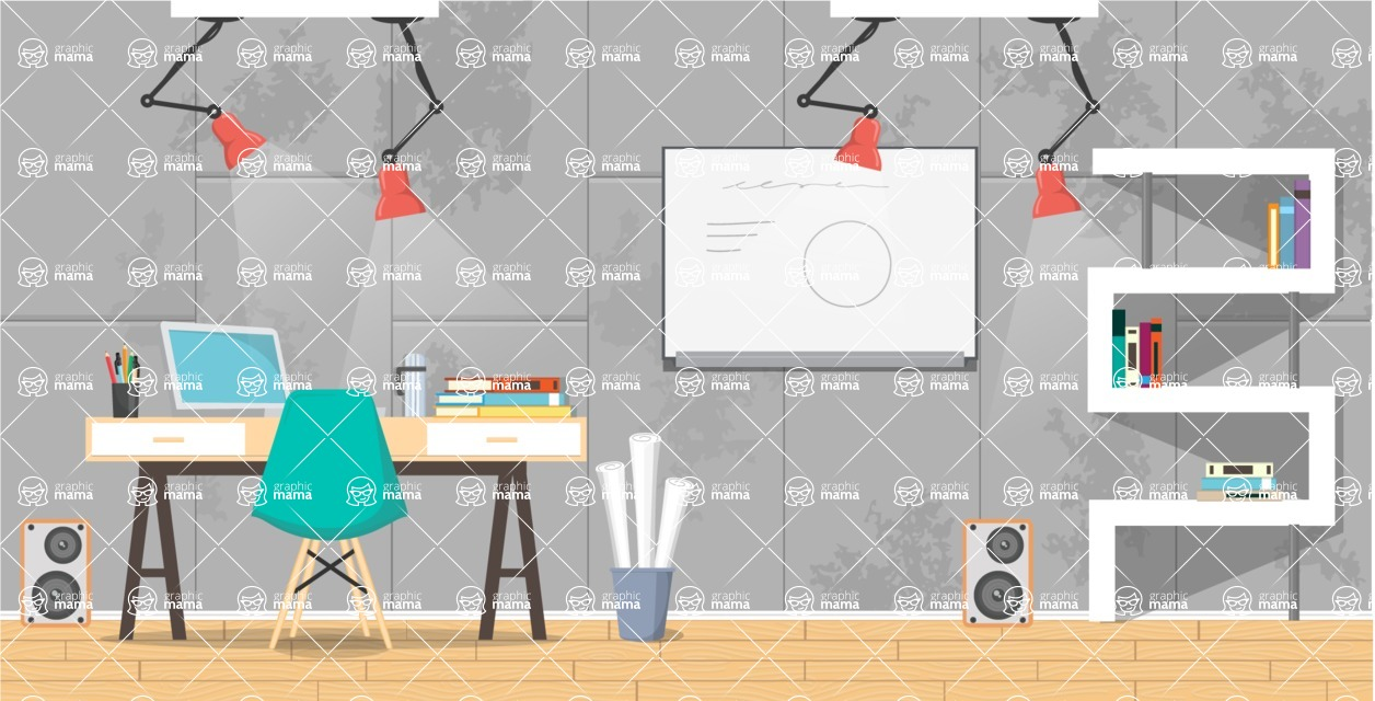 Make your own Office - creation kit - vector graphics, elements and parts - backgrounds, different interior styles, accessories, furniture, colors, plants, decoration, tech equipment  - Interior 8