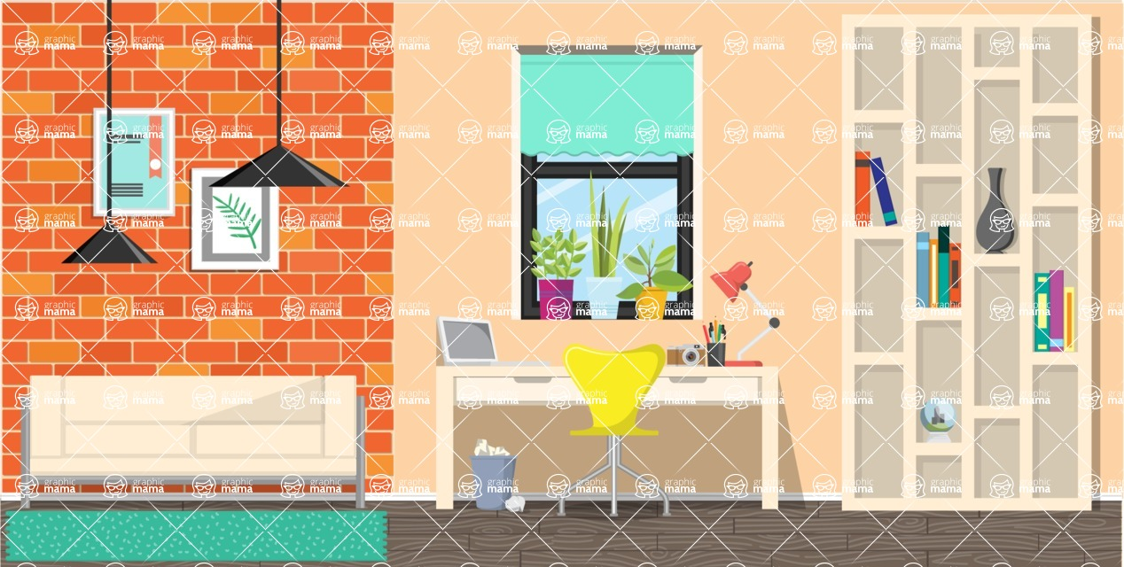 Make your own Office - creation kit - vector graphics, elements and parts - backgrounds, different interior styles, accessories, furniture, colors, plants, decoration, tech equipment  - Interior 9