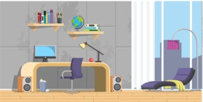 Make your own Office - creation kit - vector graphics, elements and parts - backgrounds, different interior styles, accessories, furniture, colors, plants, decoration, tech equipment  - Interior 1