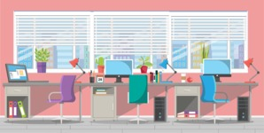 Make your own Office - creation kit - vector graphics, elements and parts - backgrounds, different interior styles, accessories, furniture, colors, plants, decoration, tech equipment  - Interior 13