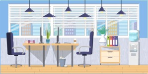 Make your own Office - creation kit - vector graphics, elements and parts - backgrounds, different interior styles, accessories, furniture, colors, plants, decoration, tech equipment  - Interior 7