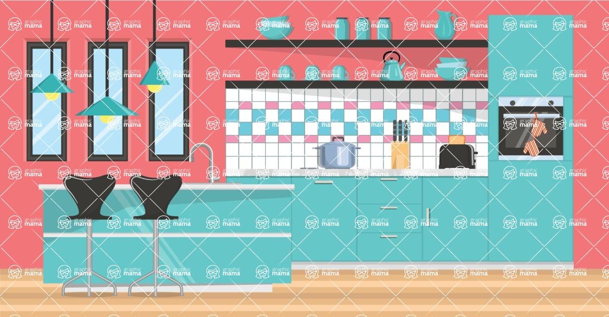 My Dream Kitchen Interior Creation Kit / Kitchen 3 | GraphicMama