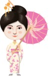 Japanese Woman with Rose Umbrella