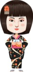 Japanese Girl in Black Kimono