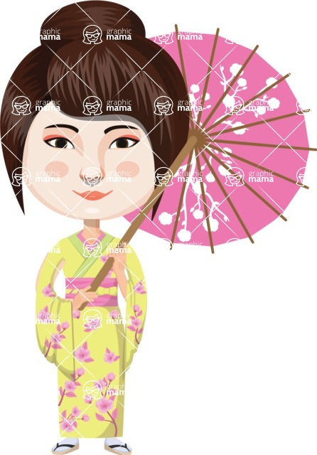 Japan - Traditional and Modern Looks - Japanese Girl with Umbrella