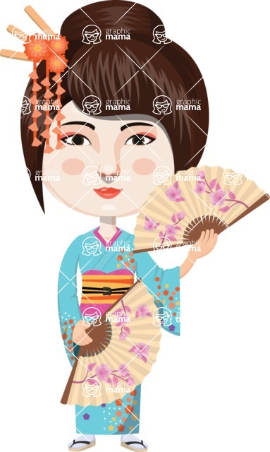 Japan - Traditional and Modern Looks - Japanese Woman with Fans