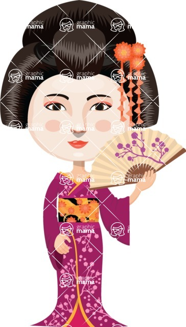 Japan - Traditional and Modern Looks - Japanese Girl with Fan