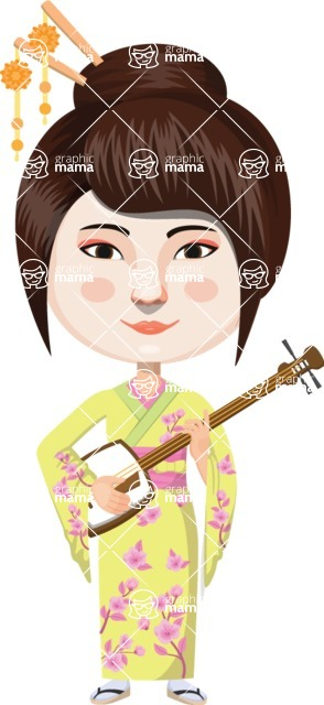 Japan - Traditional and Modern Looks - Japanese Girl with Shamisen