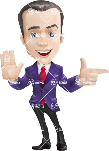 business vector cartoon character man graphic design ultra violet color 2018 - Direct Attention