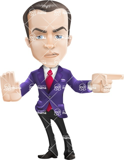 business vector cartoon character man graphic design ultra violet color 2018 - Direct Attention 2