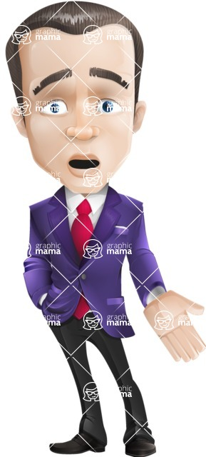 business vector cartoon character man graphic design ultra violet color 2018 - Stunned