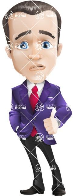 business vector cartoon character man graphic design ultra violet color 2018 - Sad