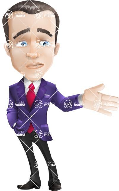 business vector cartoon character man graphic design ultra violet color 2018 - Sad2