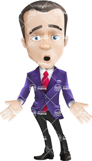 business vector cartoon character man graphic design ultra violet color 2018 - Shocked