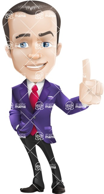 business vector cartoon character man graphic design ultra violet color 2018 - Attention