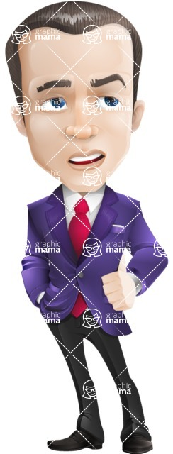 business vector cartoon character man graphic design ultra violet color 2018 - Roll Eyes