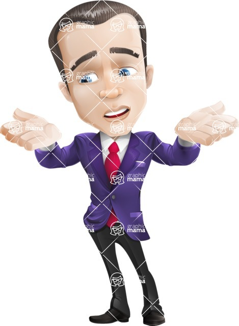 business vector cartoon character man graphic design ultra violet color 2018 - Lost2
