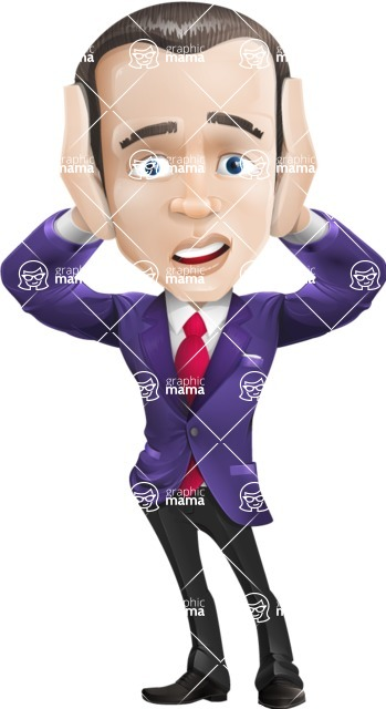 business vector cartoon character man graphic design ultra violet color 2018 - Confused