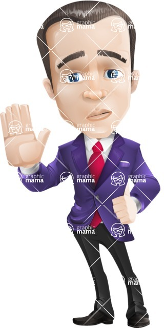 business vector cartoon character man graphic design ultra violet color 2018 - Good Bye
