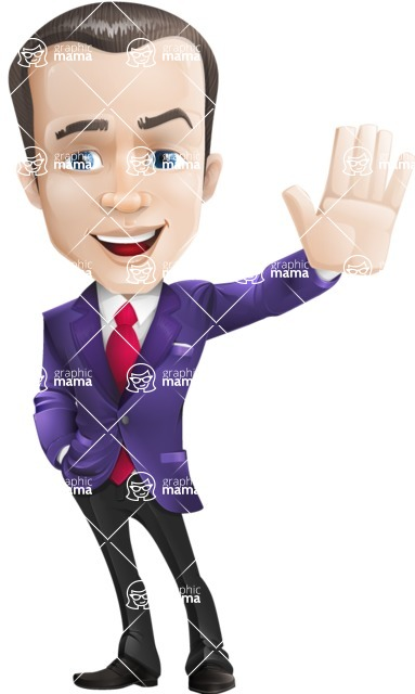 business vector cartoon character man graphic design ultra violet color 2018 - Hello