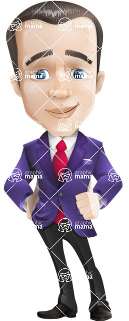 business vector cartoon character man graphic design ultra violet color 2018 - Patient