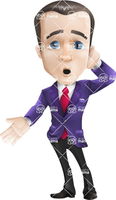 business vector cartoon character man graphic design ultra violet color 2018 - Blank