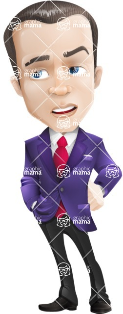 business vector cartoon character man graphic design ultra violet color 2018 - Bored