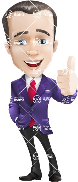 business vector cartoon character man graphic design ultra violet color 2018 - Thumbs Up
