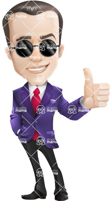 business vector cartoon character man graphic design ultra violet color 2018 - Sunglasses