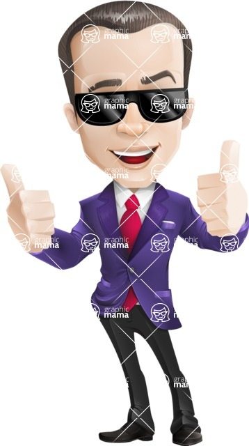 business vector cartoon character man graphic design ultra violet color 2018 - Sunglasses2