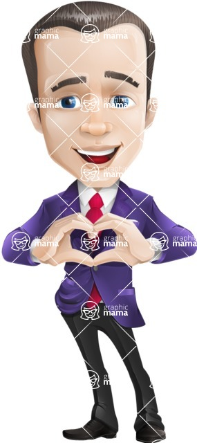 business vector cartoon character man graphic design ultra violet color 2018 - Show Love