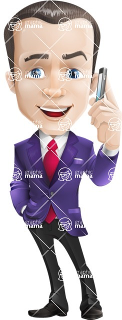 business vector cartoon character man graphic design ultra violet color 2018 - Support